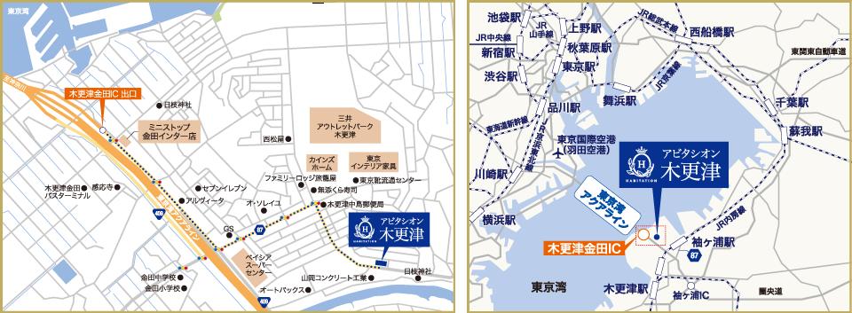 アビタシオン木更津の地図